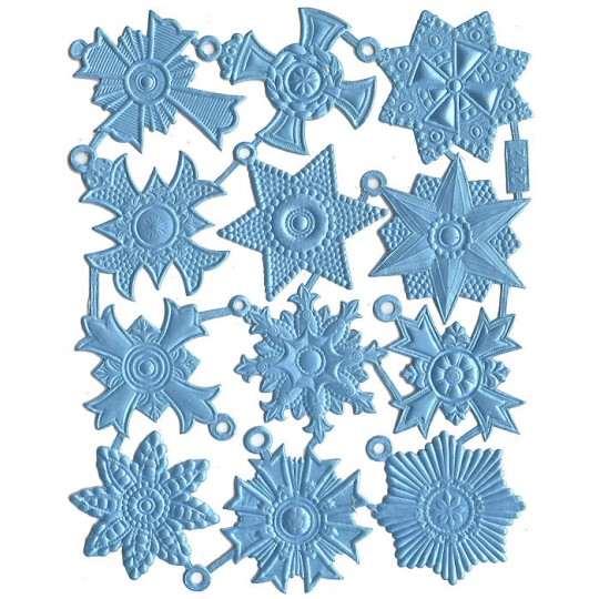 Medium Light Blue Dresden Foil Medallions ~ 12 Assorted