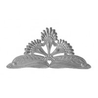 Life Sized Large Silver Dresden Foil Tiara with Heart