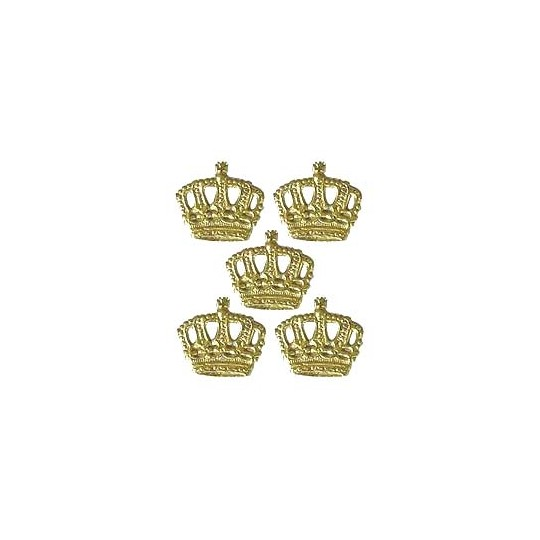 Gold Dresden Foil Miniature Crowns ~ 12