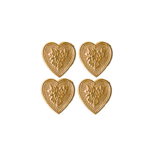 Antique Gold Dresden Foil Floral Hearts ~ 20