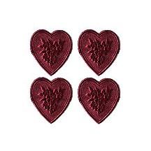 Burgundy Dresden Foil Floral Hearts ~ 20