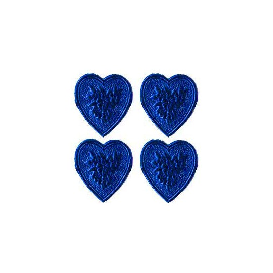 Dark Blue Dresden Foil Floral Hearts ~ 20