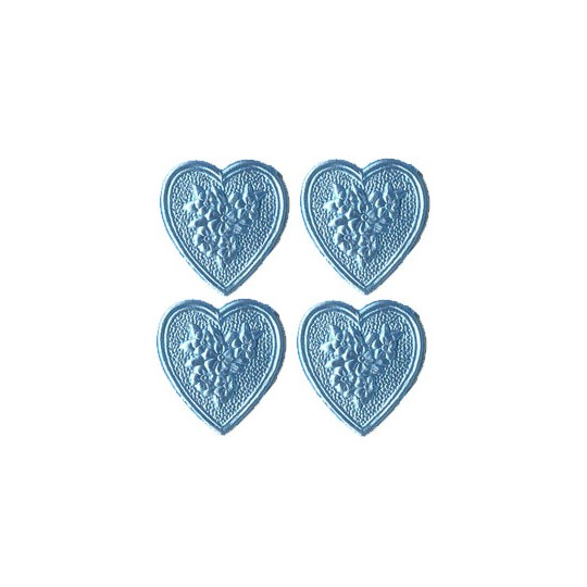 Light Blue Dresden Foil Floral Hearts ~ 20