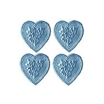 Light Blue Dresden Foil Floral Hearts ~ 20