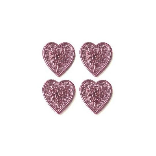 Pink Dresden Foil Floral Hearts ~ 20