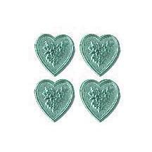 Aqua Dresden Foil Floral Hearts ~ 20