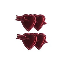 Burgundy Dresden Foil Double Hearts ~ 12