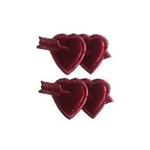 Burgundy Dresden Foil Double Hearts ~ 12