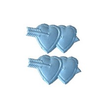 Light Blue Dresden Foil Double Hearts ~ 12