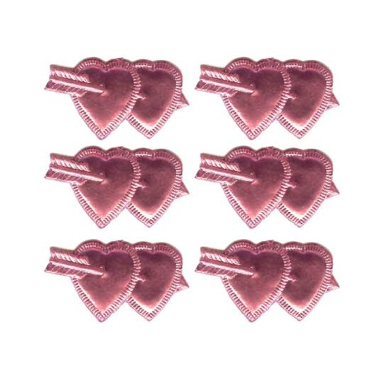 Pink Dresden Foil Double Hearts ~ 12
