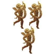 Antique Gold Dresden Foil Miniature Cherubs ~ 10