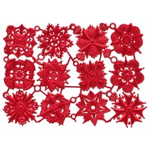Red Dresden Foil Medallions ~ 12 Assorted