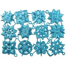 Light Blue Dresden Foil Medallions ~ 12 Assorted