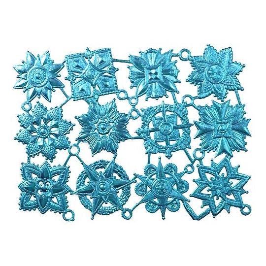 Light Blue Dresden Foil Medallions ~ 12 Assorted