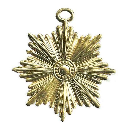 Large Gold Dresden Foil Radiant Star Ornaments ~ 6