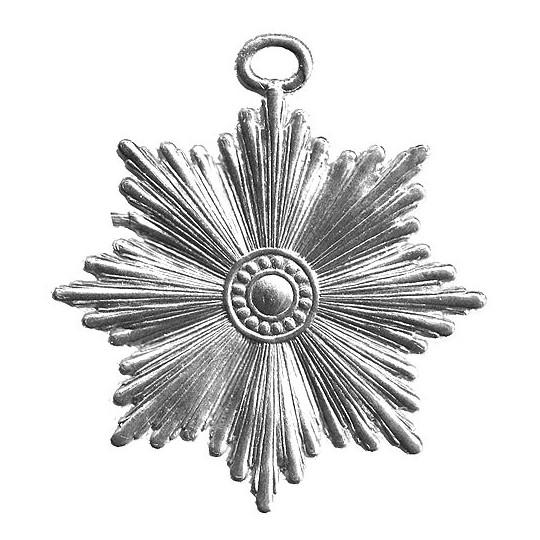 Large Silver Dresden Foil Radiant Star Ornaments ~ 6