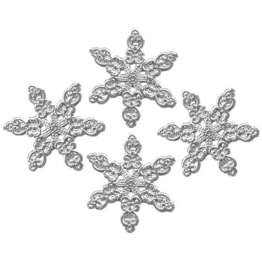 Fancy Silver Dresden Snowflakes ~ 14