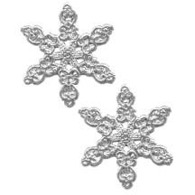 Fancy Silver Dresden Snowflakes ~ 14