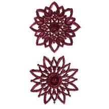 Burgundy Dresden Foil Snowflakes or Halos ~ 8 Asst.