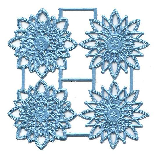 Light Blue Dresden Foil Snowflakes or Halos ~ 8 Asst.