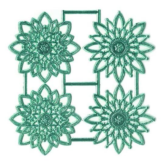 Aqua Dresden Foil Snowflakes or Halos ~ 8 Asst.