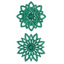 Green Dresden Foil Snowflakes or Halos ~ 8 Asst.