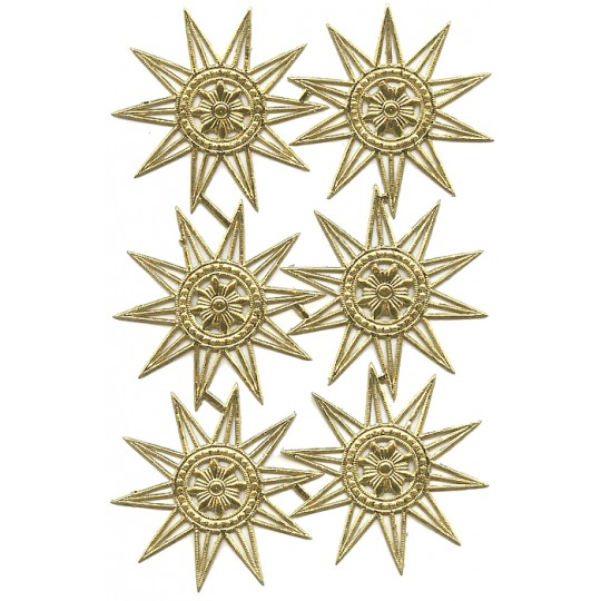 Fancy Gold Dresden Foil Multi Pointed Stars or Halos ~ 6