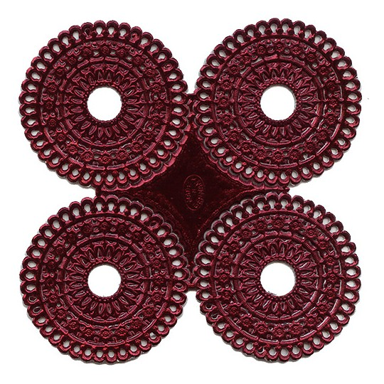 Burgundy Dresden Foil Scalloped Halos ~ 4