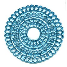 Light Blue Dresden Foil Scalloped Halos ~ 4