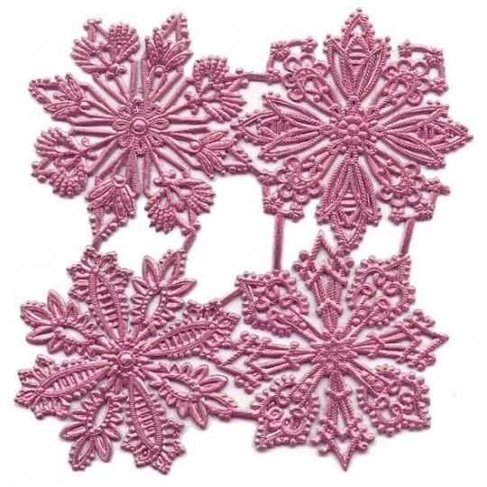 Large Pink Dresden Foil Snowflakes ~ 4 Assorted