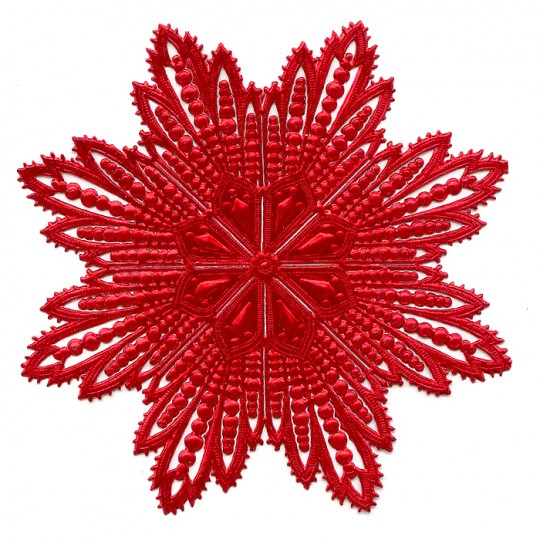 Extra Large Red Dresden Foil Filigree Snowflake or Halo ~ 1