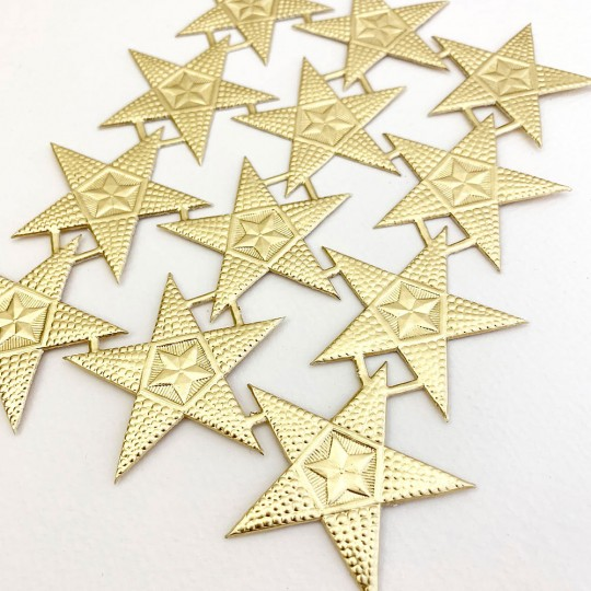Medium Gold Bumpy Five Point Stars ~ 12