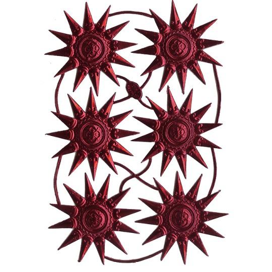 Extra Fancy Burgundy Dresden Foil Medallions or Halos ~ 6