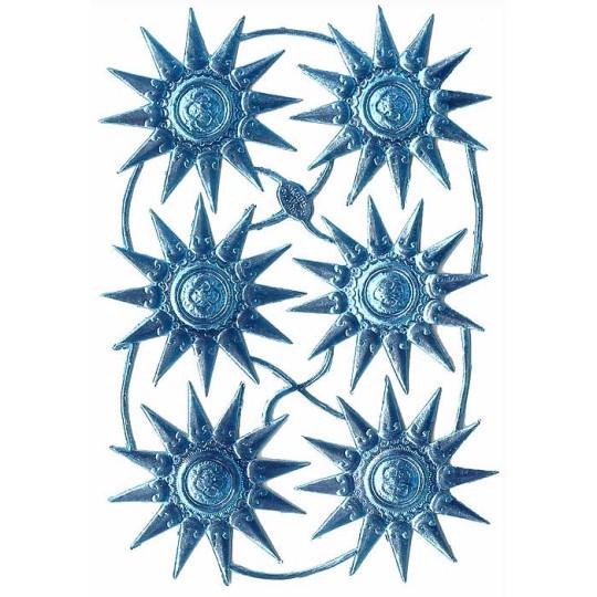 Extra Fancy Light Blue Dresden Foil Medallions or Halos ~ 6