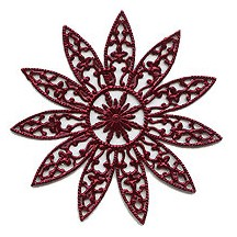 Large Fancy Filigree Burgundy Dresden Snowflakes or Halos ~ 2
