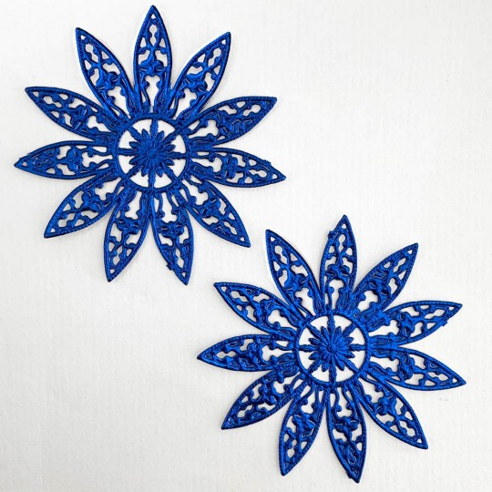 Large Fancy Filigree Dark Blue Foil Dresden Snowflakes or Halos ~ 2