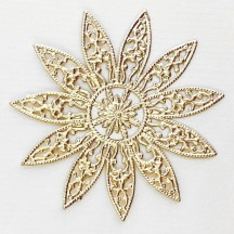 Large Fancy Filigree Gold Dresden Snowflakes or Halos ~ 2