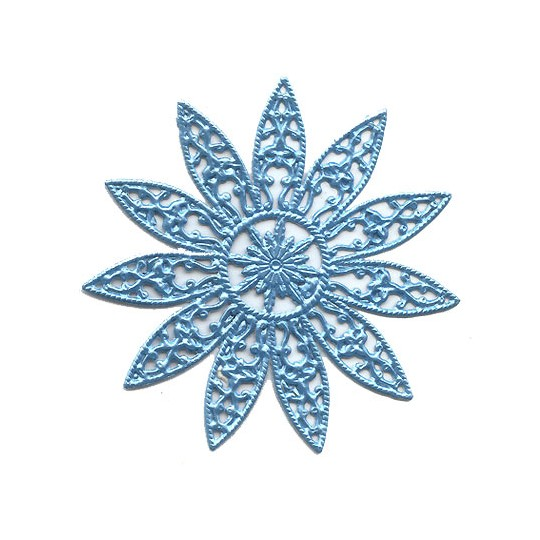 Large Fancy Filigree Light Blue Dresden Snowflakes or Halos ~ 2