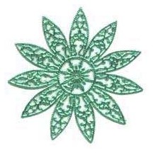 Large Fancy Filigree Aqua Dresden Snowflakes or Halos ~ 2