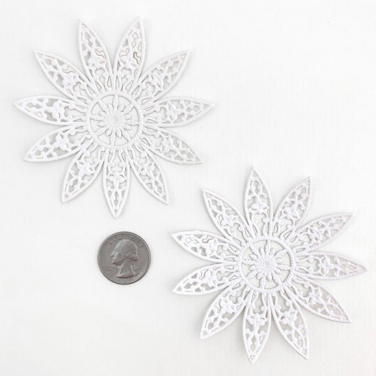 Large Fancy Filigree White Paper Dresden Snowflakes or Halos ~ 2