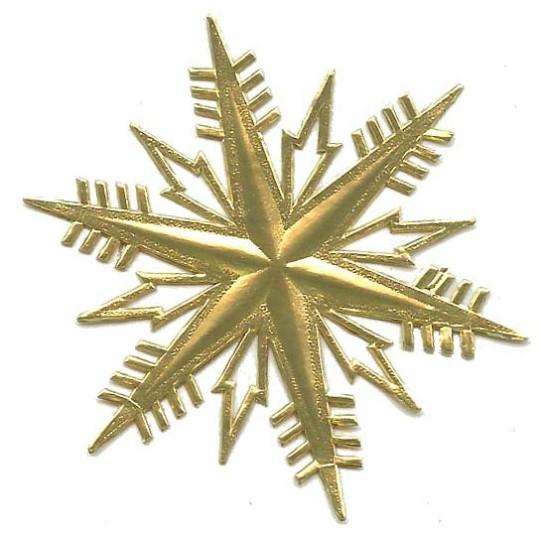 Petite Classic Gold Dresden Foil Snowflakes ~ 3