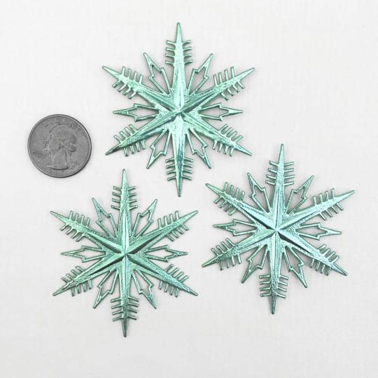 Petite Classic Aqua Dresden Foil Snowflakes ~ 3