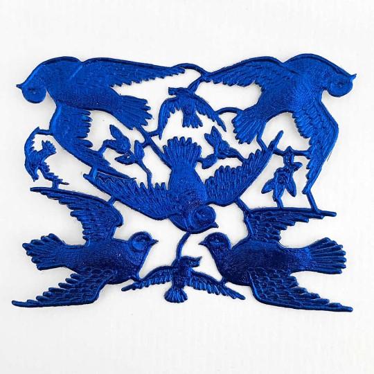 Dark Blue Dresden Foil Doves ~ 8 Asst.