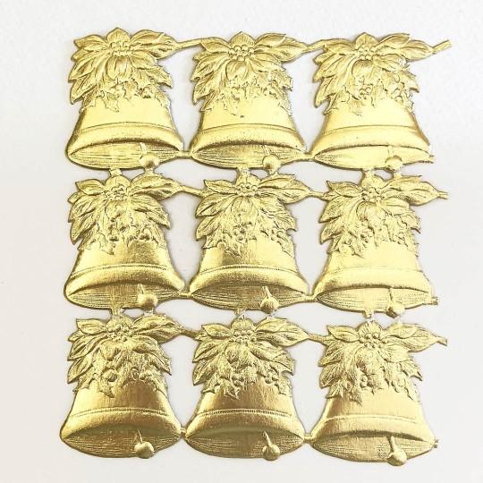 Gold Poinsettia Holly Bells Dresden Chrstmas Die-Cuts ~ 9