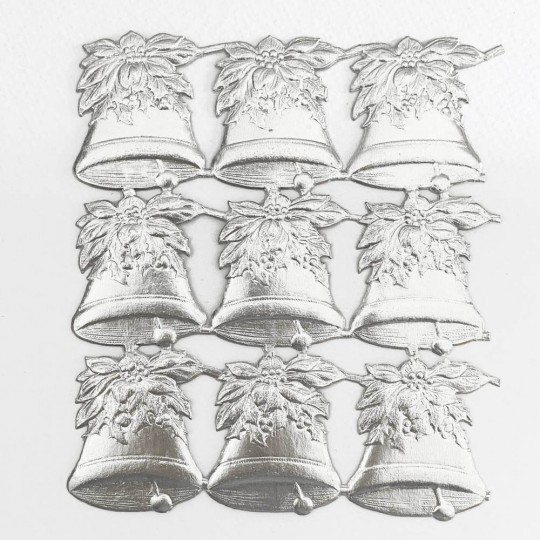 Silver Poinsettia Holly Bells Dresden Chrstmas Die-Cuts ~ 9