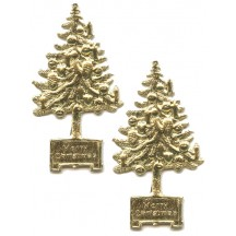 Gold Dresden Foil Christmas Trees ~ 8
