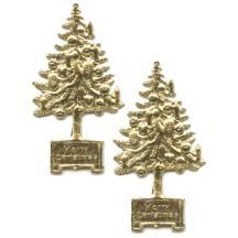 Gold Dresden Foil Christmas Trees ~ 8