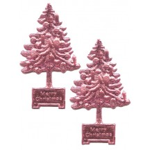 Pink Dresden Foil Christmas Trees ~ 8