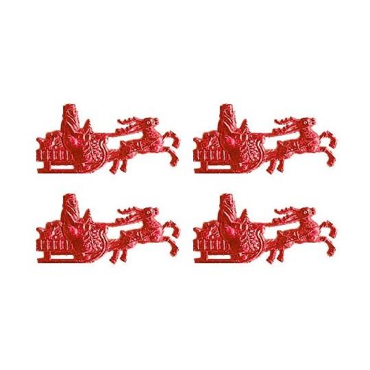 Red Dresden Foil Santa in Sleigh ~ 16