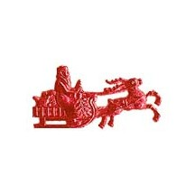 Red Dresden Foil Santa in Sleigh ~ 16